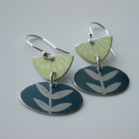 Folk art flower earrings in lime and grey