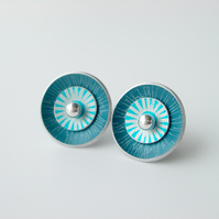 Circle earrings in teal and turquoise