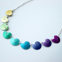 Shell necklace in rainbow colours