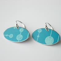 Teal oval earrings with mid century print