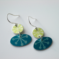 Folk art earrings in teal and lime with star print