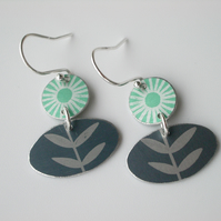 Folk art flower earrings in green and grey