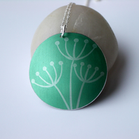 Cow parsley pendant necklace in green