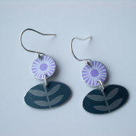 Folk art flower earrings in purple and grey