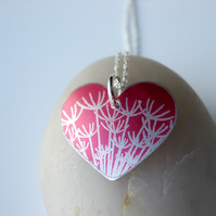 Red heart pendant with silver dandelion clock print