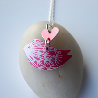 Bird necklace with dandelion print in red and silver