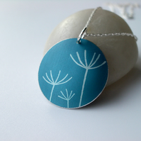 Dandelion seed pendant necklace in teal and silver