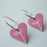 Heart hoop earrings in coral pink with dandelion seed