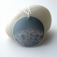 Silver grey dandelion seed disc pendant necklace