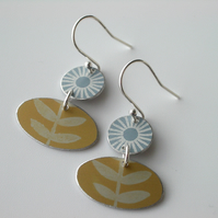Folk art earrings in grey and yellow