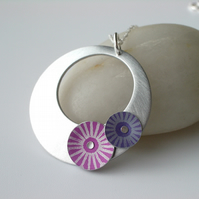 Circle pendant necklace in brushed aluminium with pink and purple discs