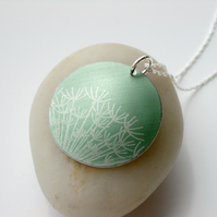 Dandelion seeds pendant necklace in green