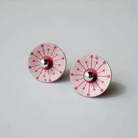 Circle earrings studs with red mid century star print