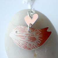 Orange bird necklace pendant with dandelion seed print and heart
