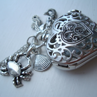 Little Mermaid Pocket Watch Necklace with Nautical Charms