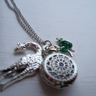 Giraffe and Fox Pocket Watch Necklace with Mint Green Rose