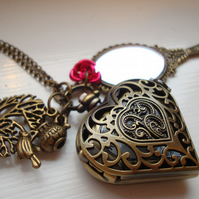 Beauty and The Beast Pocket Watch Mirror Necklace