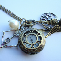 Hunger Games Pocket Watch Necklace