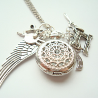Singer Sewing Queen Pocket Watch Necklace