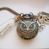 Harry Potter Owl Book Page Pocket Watch Necklace Unicorn