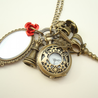 Alice in Wonderland Looking Glass Pocket Watch Necklace