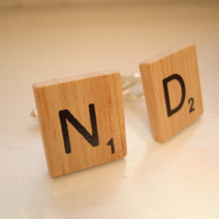 Scrabble Initial Cufflinks Wooden Present Wedding