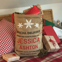 Christmas Sack Personalised - Snowflake Design - From Santa Claus