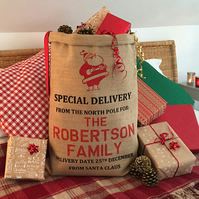 Christmas Sack Personalised - Santa Design -From Santa Claus or Father Christmas