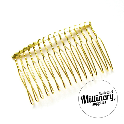 Gold Plated Metal Hair Comb for Fascinators and Millinery