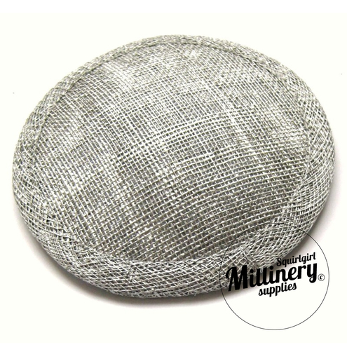 Metallic Silver Sinamay Fascinator Round Hat Base
