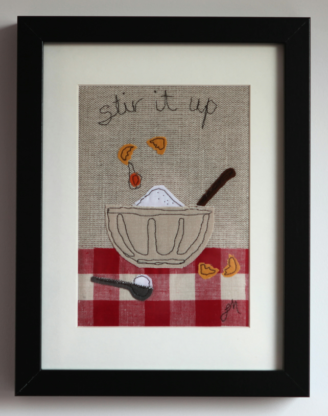 Stir It Up - framed freestyle machine embroidery