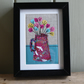 Japanese jug of flowers - framed freestyle machine embroidery