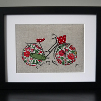 Framed freestyle machine embroidery - I love my bike red and green