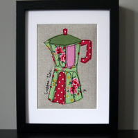 Framed freestyle machine embroidery - pink and green coffee pot