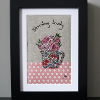 Framed freestyle machine embroidery - blooming lovely roses