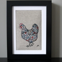 Framed freestyle machine embroidery - grey and pink chicken