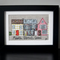Framed freestyle machine embroidery - Middle Street, Deal, Kent