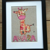 Custom child's name freestyle machine embroidered picture