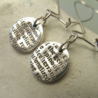 Fine silver disc earrings with text pattern