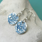 Fine silver disc earrings with blue floral surface