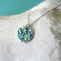 Fine silver disk necklace with turquoise patina