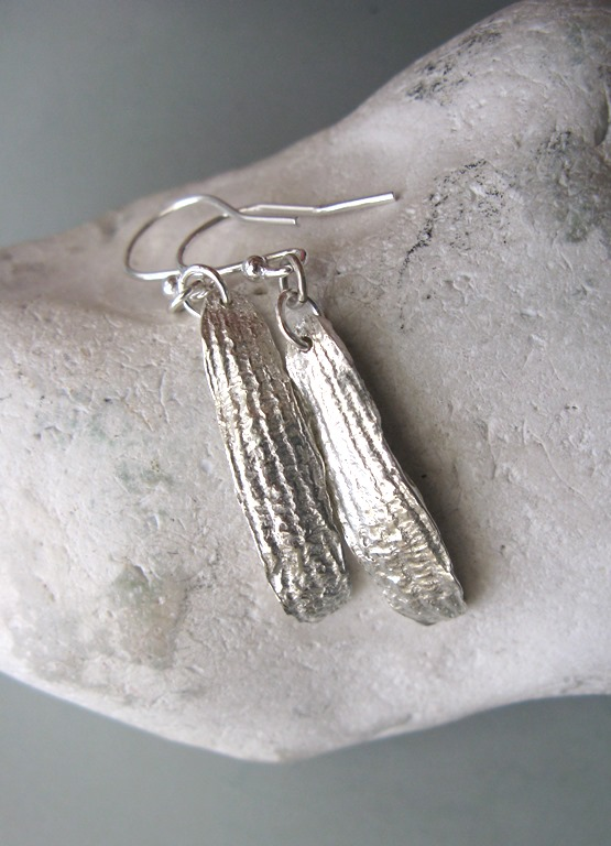 Fine silver mistletoe leaf earrings
