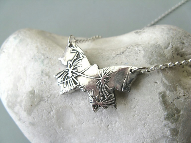 Fine silver butterfly necklace with dandelion clocks