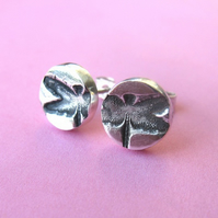 Fine silver stud earrings with dragonflies