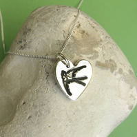 Fine silver heart necklace with bird