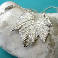 Fine silver vine leaf necklace