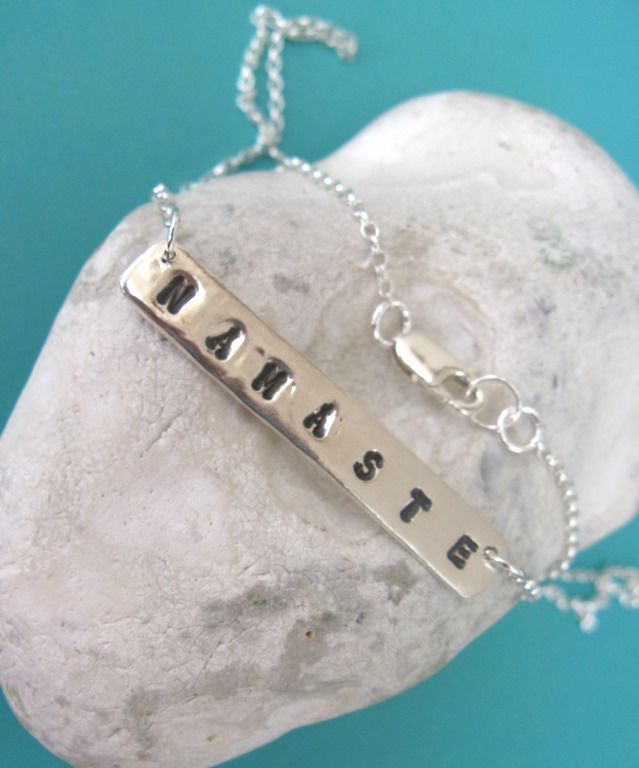 Yoga namaste necklace in sterling silver