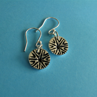 Fine silver poppy head imprint earrings