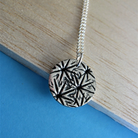 Fine silver poppy seed head imprint necklace