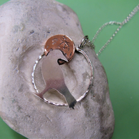 Silver crow necklace with copper moon